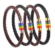 Rainbow Jewelry Charm Leather Bracelet