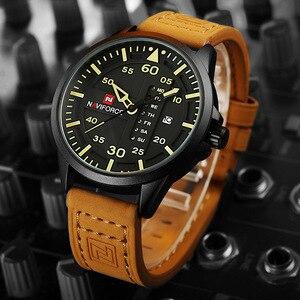 Image 2 - Naviforce marca de luxo dos homens do exército militar relógios quartzo data relógio homem pulseira couro esportes relógio de pulso relogio masculino