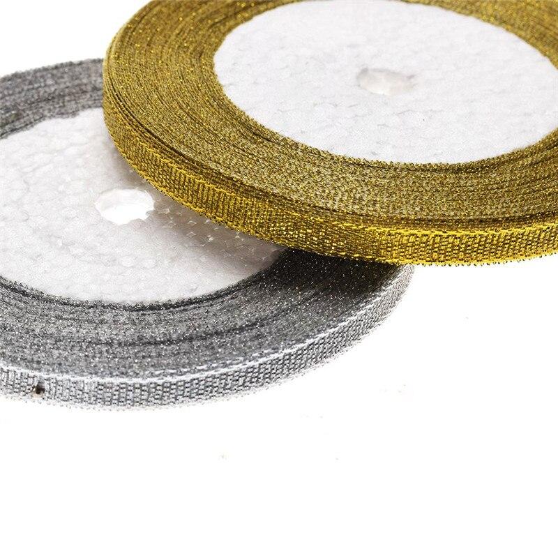 25 ярдов 6 мм серебро/золото шелковой атласной вечерние лентой партии дома Свадебные для упаковки подарков Рождество Новый год DIY шиньон Вышивание