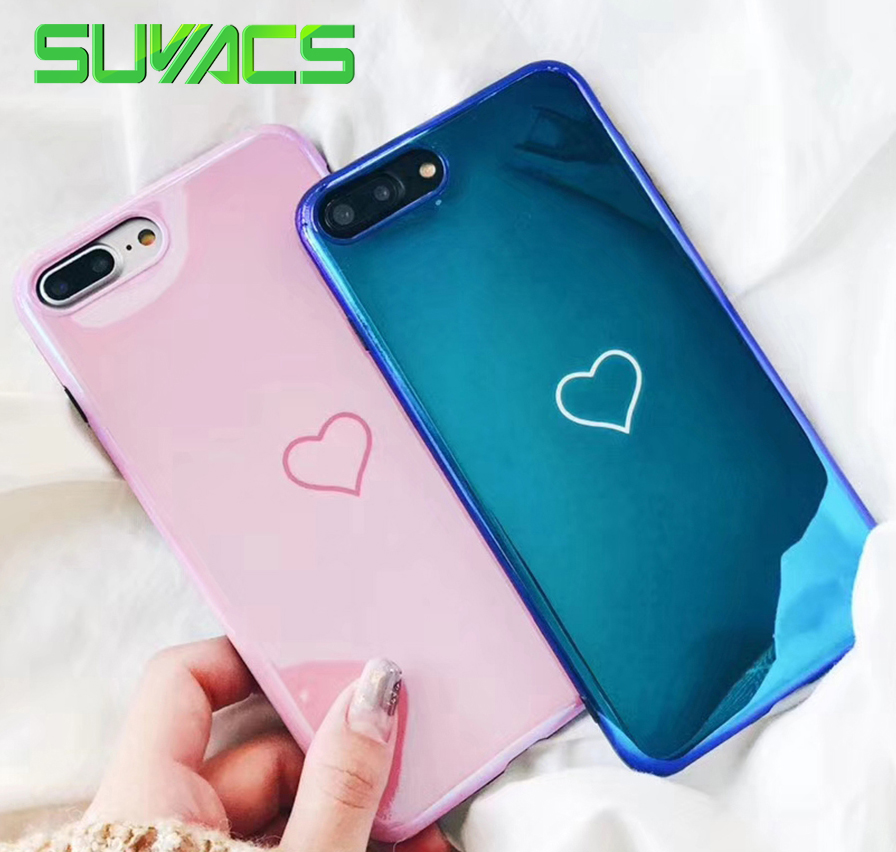 SUYACS Glossy Blu-ray Phone Case For iPhone 6 6S 7 8 Plus X Shiny Laser  Hearts Love Soft IMD Silicon Phone Cases Back Cover 632c632a090d