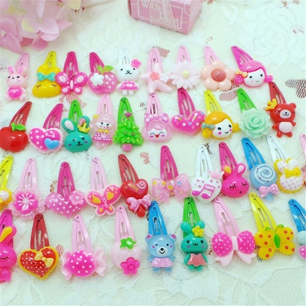 20/10PCS Mix Color Styles Flower Cartoon Hairpins Lovely Kids Girls 3 Cm Multicolor Hair Clip Hair Band Accessories