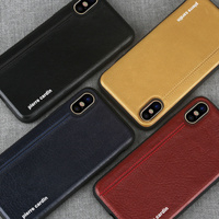 For Apple IPhone X Case Original Pierre Cardin Genuine Leather TPU Case Cover For IPhone X