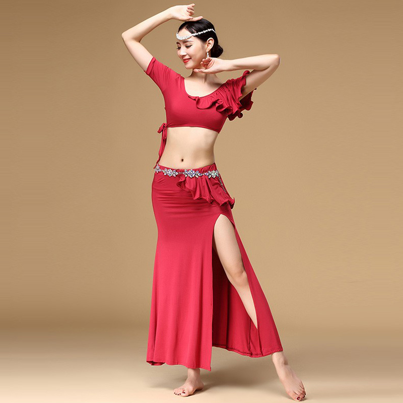2019New Cheap Women Belly Dance Clothing 2-piece Set Top And Skirt Spandex Clothes Practice Dance Costumes For Sale