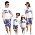 2017 Sport Summer Family Matching Outfits mother and daughter clothes father son sets T shirt + Camouflage Pants cotton