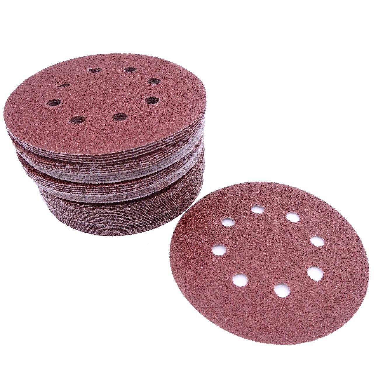 MYLB-50 pcs 5 inch 8 Hole 80 Grit Mix Sanding Disc Random Orbit Sandpaper Buckle Sander