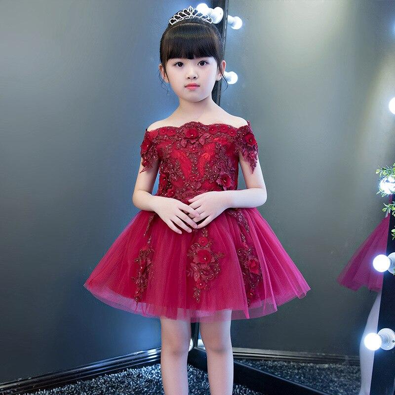 Exquise mignon Appliques fleur fille robes de mariée enfants bambins soirée fête princesse robe d'anniversaire sainte Communion robe