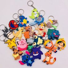 3D Cartoon Figure Pokemon Eevee Keychain Soft Silicone Pocket Monsters Charizard Key Chain Keyring Kids Key Holder Trinket Gift(China)