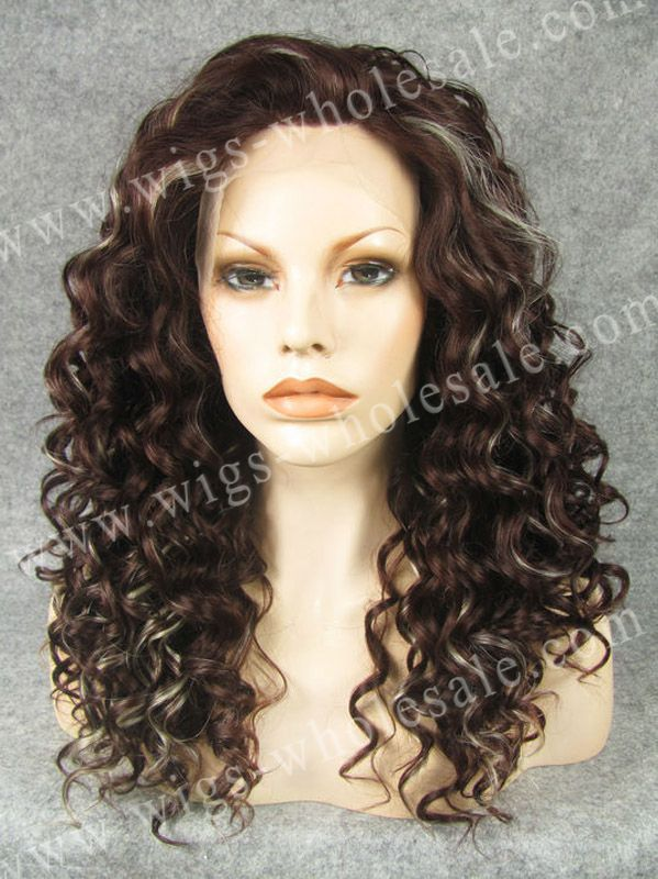 ФОТО Free Shipping curly brown mixture wig synthetic lace front wig Rihanna hairstyle