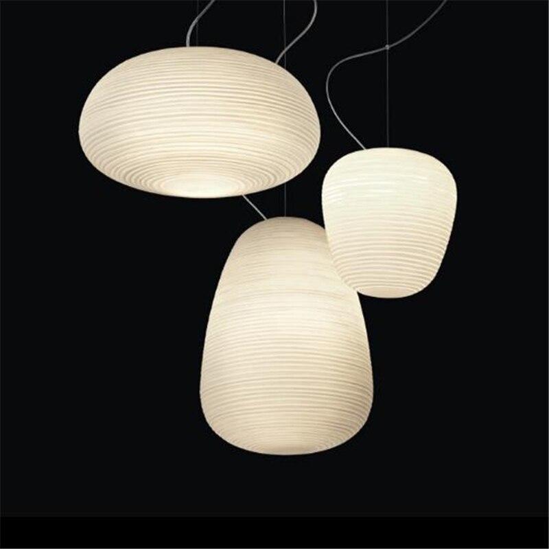 Vis créative nordique postmoderne filetée lustres en verre blanc Restaurants chambre blanc livraison gratuite - 4