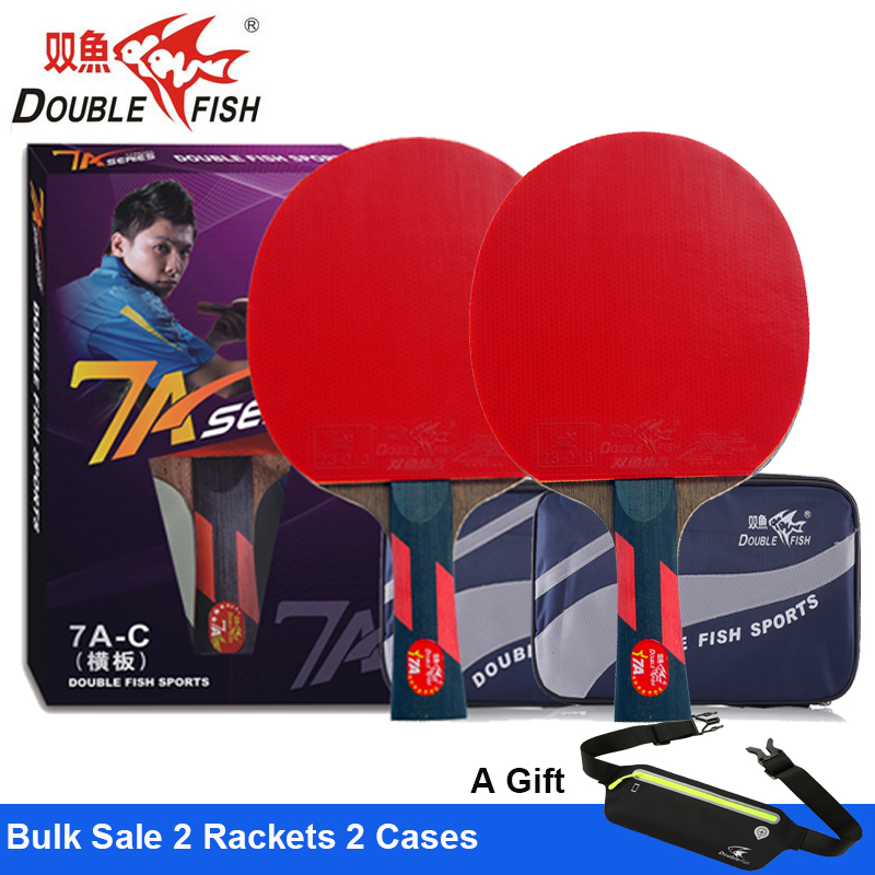 2 Pcs Double Fish Advance 7AC 7Star Table Tennis Finished Rackets Paddle 5 Ply Wenge Wood Racquet Fast Attack Loop ITTF Approved