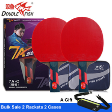 2 pcs Double Fish Advance 7AC 7Star Table Tennis Finished Rackets Paddle 5 Ply Wenge Wood Racquet Fast Attack Loop ITTF Approved original dhs power g9 pg9 table tennis blade fast attack with loop table tennis rackets racquet sports indoor sports