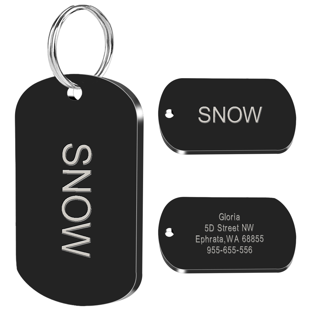 Military Dog ID Tag Stainless Steel Dogs Tags Custom Personalized ID Tag Free Engraved Pet Name Address Phone Number 2 Size M L(China)