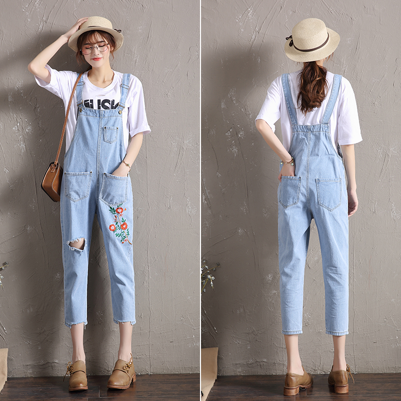 Summer Autumn New Female Flower Embroidery Pattern Holes Denim Jeans Overalls Women Suspenders Wide Leg Bib Jumpsuit L1036 denim overalls male suspenders front pockets men s ripped jeans casual hole blue bib jeans boyfriend jeans jumpsuit or04
