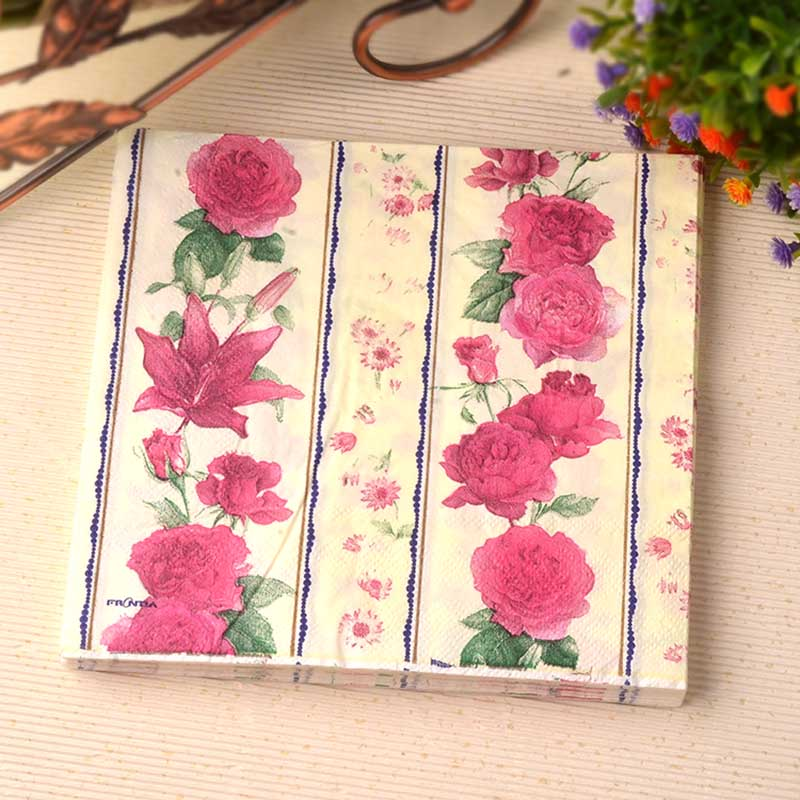 Nuevo pañuelo de papel servilletas decoupage red rose pañuelo lirio cafe hotel w