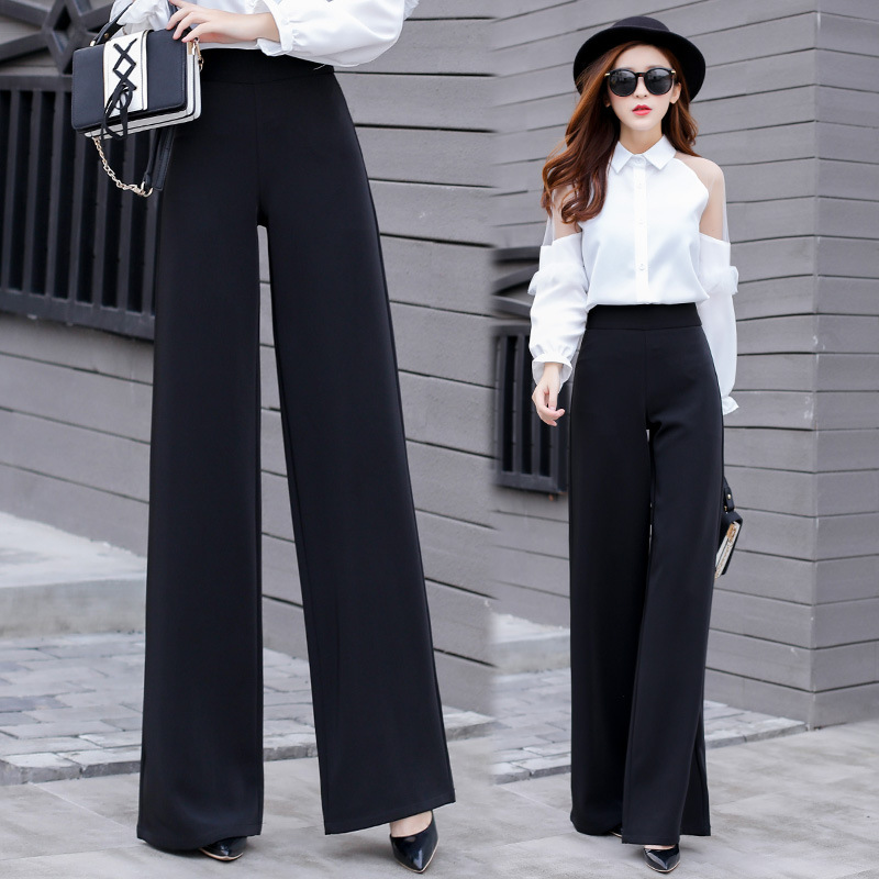 2019 345XL Women Leisure Trousers for Lady Black High Waisted   Wide     Leg     Pants   Large Size Casual Suit Bottoms Dropshipping SP041