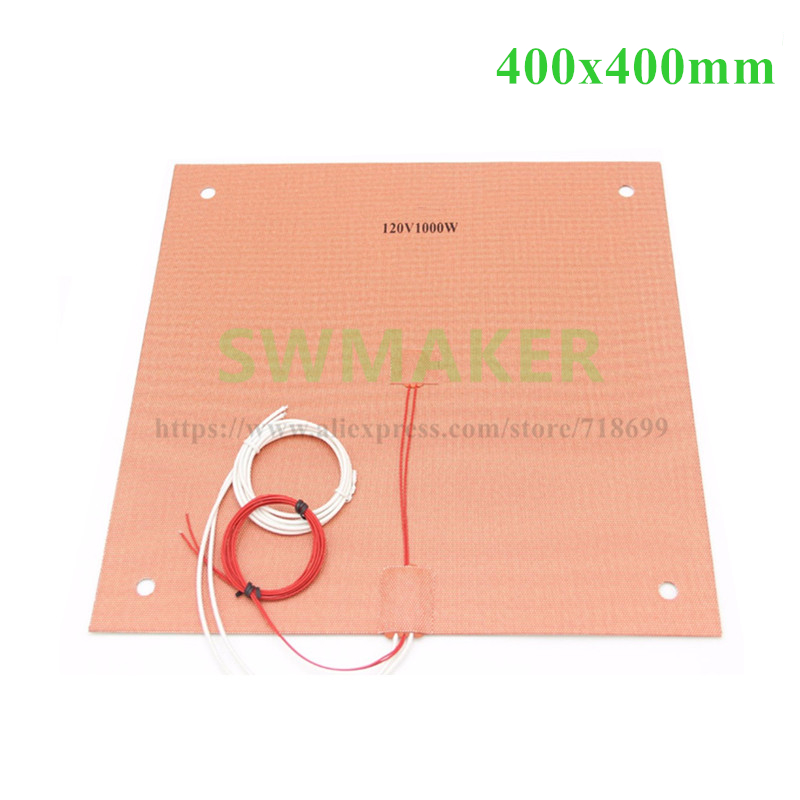 SWMKAER 120/220V 1000W Silicone Heater heated bed 400x400mm for Creality CR-10 S4 3D Printer Silicone Heater Pad Bed with Holes usa material silicone heater pad 310x310mm for creality cr 10 3d printer heated bed w screw holes adhesive backing