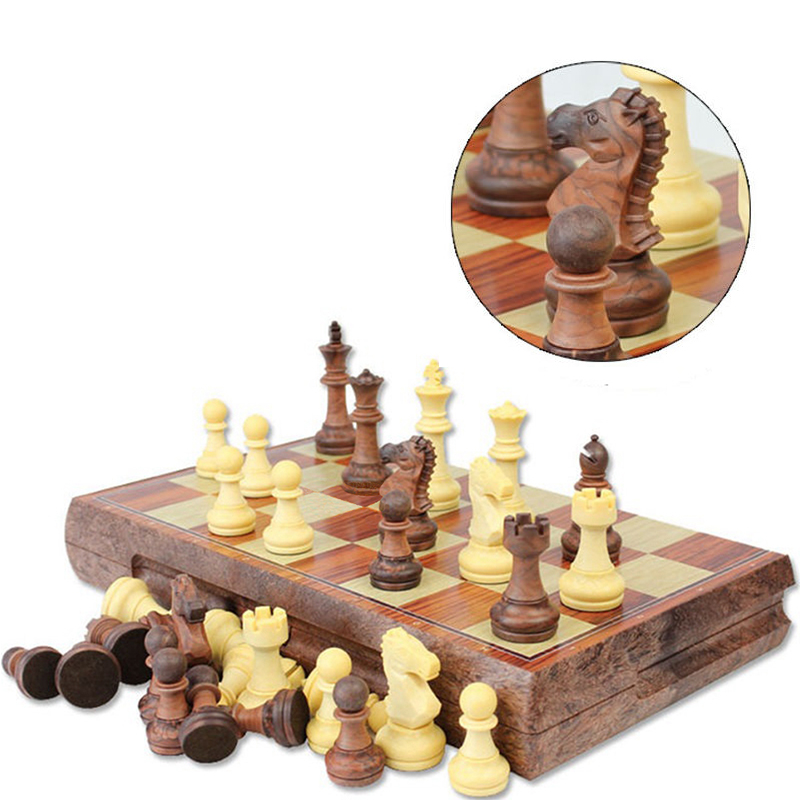 High Quality Magnetic Chess Large High-grade Imitation Mahogany Chess Wood WPC Chess High Impact Plastic Materials chess and mathematical thinking