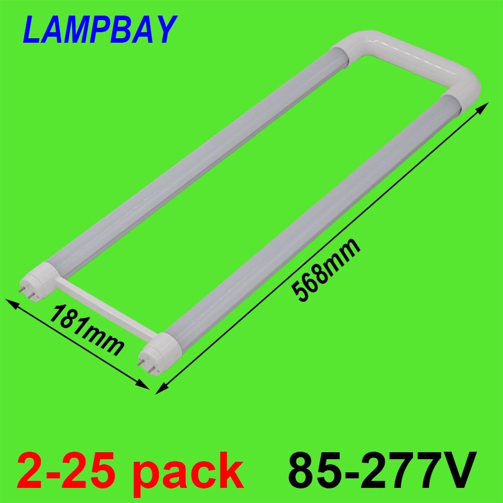 купить 2-25pcs U shaped LED Tube Light 2ft 20W T8 G13 Bi-pin Retrofit Bulb Fluorescent Lamp work into exist fixture 110V-277V
