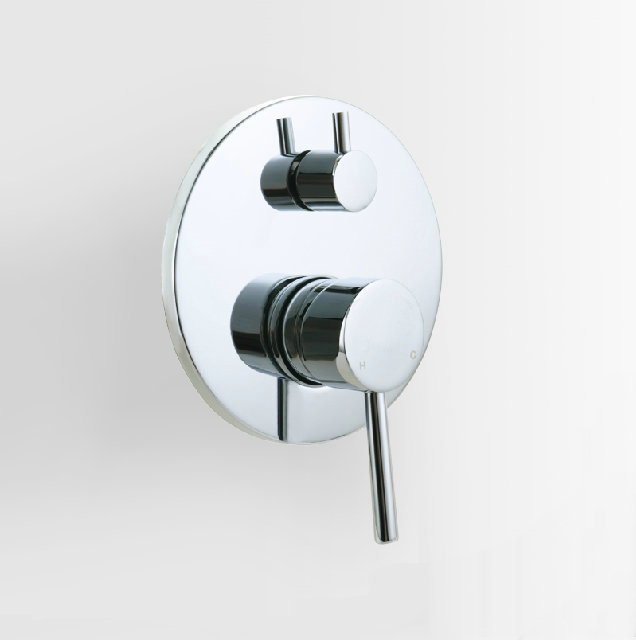 2 Outlets Round Shower Valve Panel Faucet Handle Wall Mounted Control