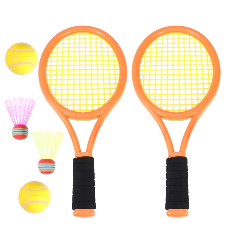 1 Pair Of Racket Durable Tennis Parent Child Safe ABS Badminton Rackets Game Props Tennis Tools For Outdoor Sports Beach School