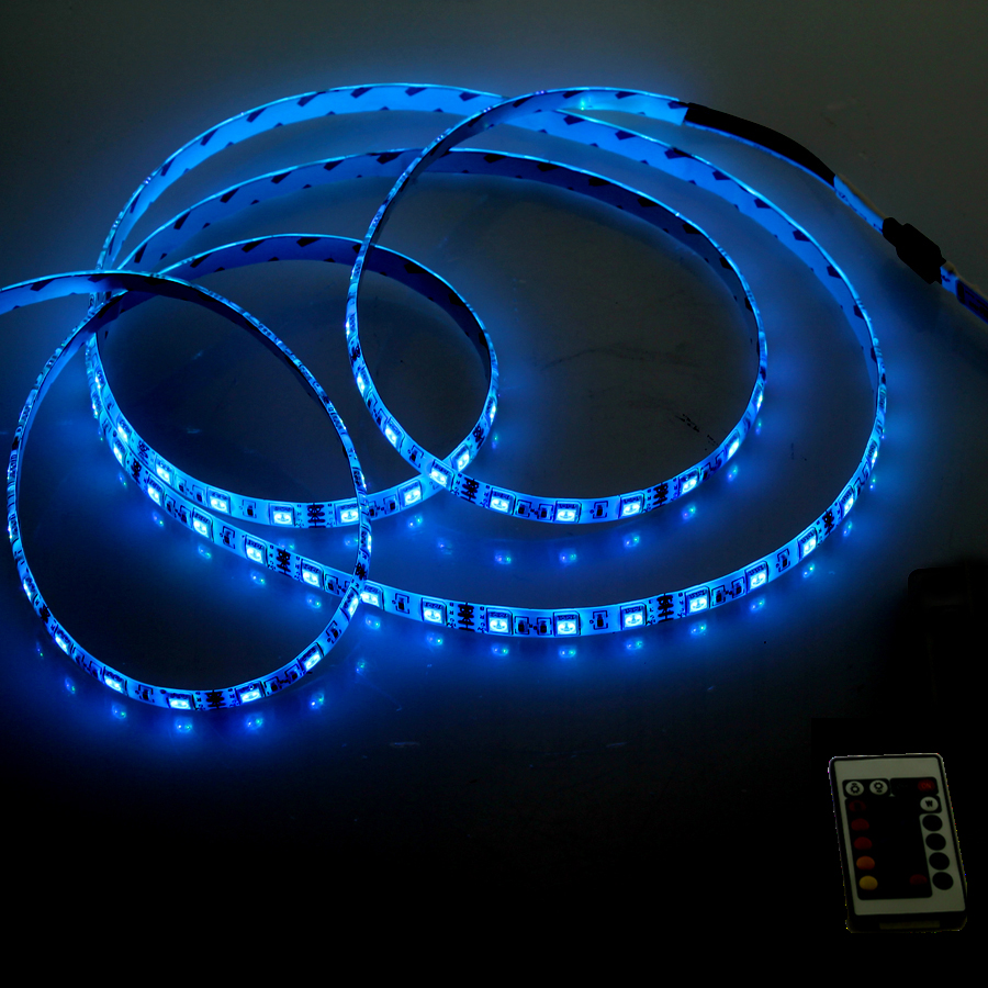 LED SMD 5050 RGB 12V White PCB 60Leds m Flexible Strip 12V 24 Keys Mini RGB