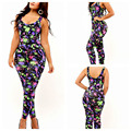 2017 Summer Sexy Fitness Bodycon Jumpsuit Rompers Womens Jumpsuit Club Wear Floral Print Ladies jumpsuit Long Pant Playsuit