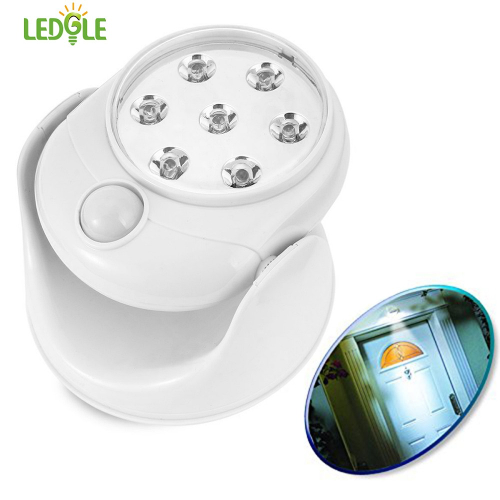 LEDGLE Motion Sensor Wall Lamp Battery Powered LED Lamp Cordless Indoor Lamp with 360 Degree Rotatable Design, White