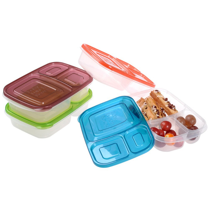 3 compartment plastic food containers bento lunch box eco friendly bento box easy lunch box. Black Bedroom Furniture Sets. Home Design Ideas