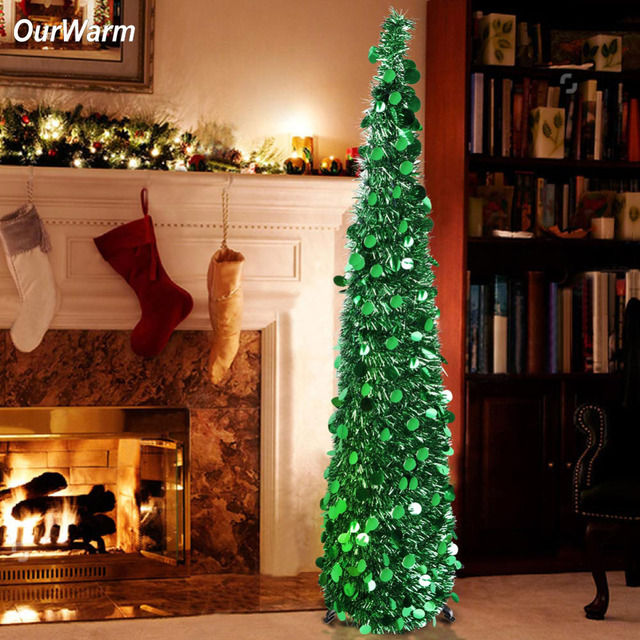 Silver Tinsel Pop Up Christmas Tree: OurWarm 5ft Tinsel Pop Up Tree Collapsible Artificial