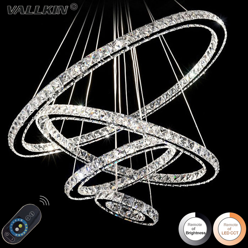 Modern LED Crystal Pendant Light Ring Crystal Lustres Lamp for Dining Living Crystal Hanging Suspension Drop Lighting Dimmable modern crystal chandelier led hanging lighting european style glass chandeliers light for living dining room restaurant decor