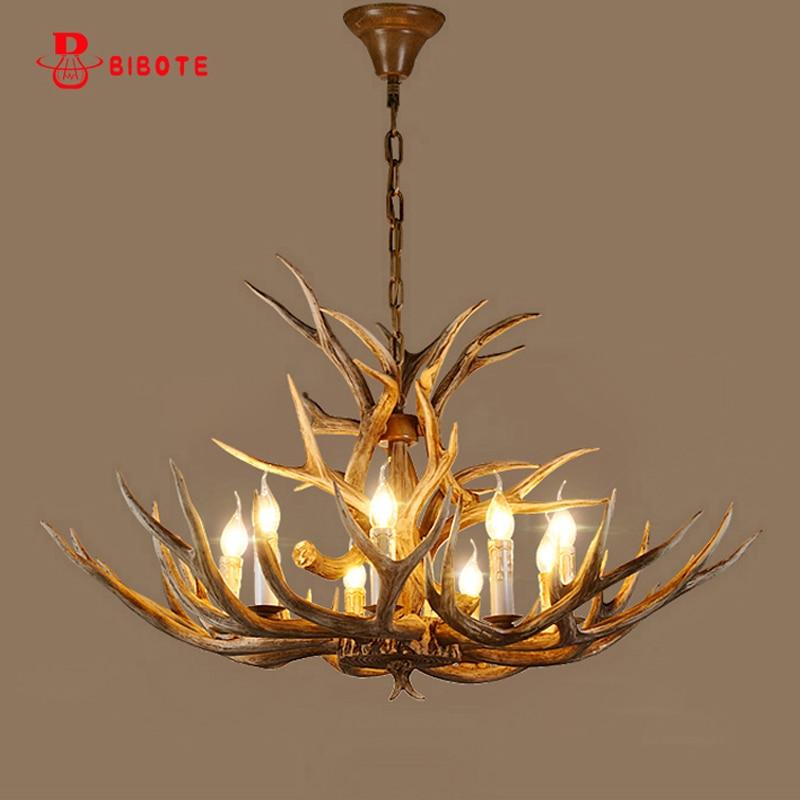 lampadario vintage antler chandelier lighting home decor led resin chandeliers ceiling suspension luminaire industrielle lustre