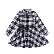 Girls Blouse Spring Autumn Cotton Shirts Dresses Loose Casual Plaid Fashion Full Sleeve Outwear Belt Shirt Dress Red Black White girls plaid blouse 2019 spring autumn turn down collar teenager shirts cotton shirts casual clothes child kids long sleeve 4 13t