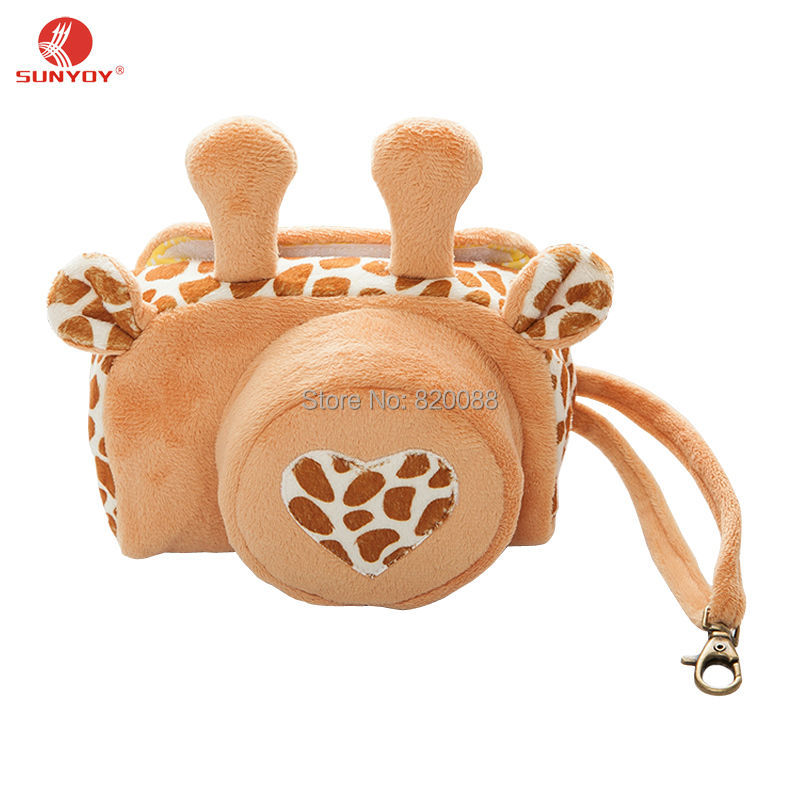 Love Giraffe Pattern Thicken Velvet Fabric Camera Case Bag For Canon EOS M3 with 18-55mm lens&Canon EOS M10 with 15-45mm lens