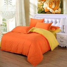 Orange/Yellow Duvet Cover Set 4PCS Bedding Set King Queen Size Soft Bedclothes Pillow covers Unique Fresh Color Family bed set