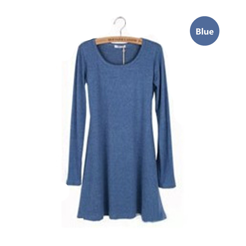 New Fashion Clothes vestidos Spring Women Dress Brushed 100% Cotton Autumn Winter Dress Female Long Sleeve O-Neck Woolen Dresses