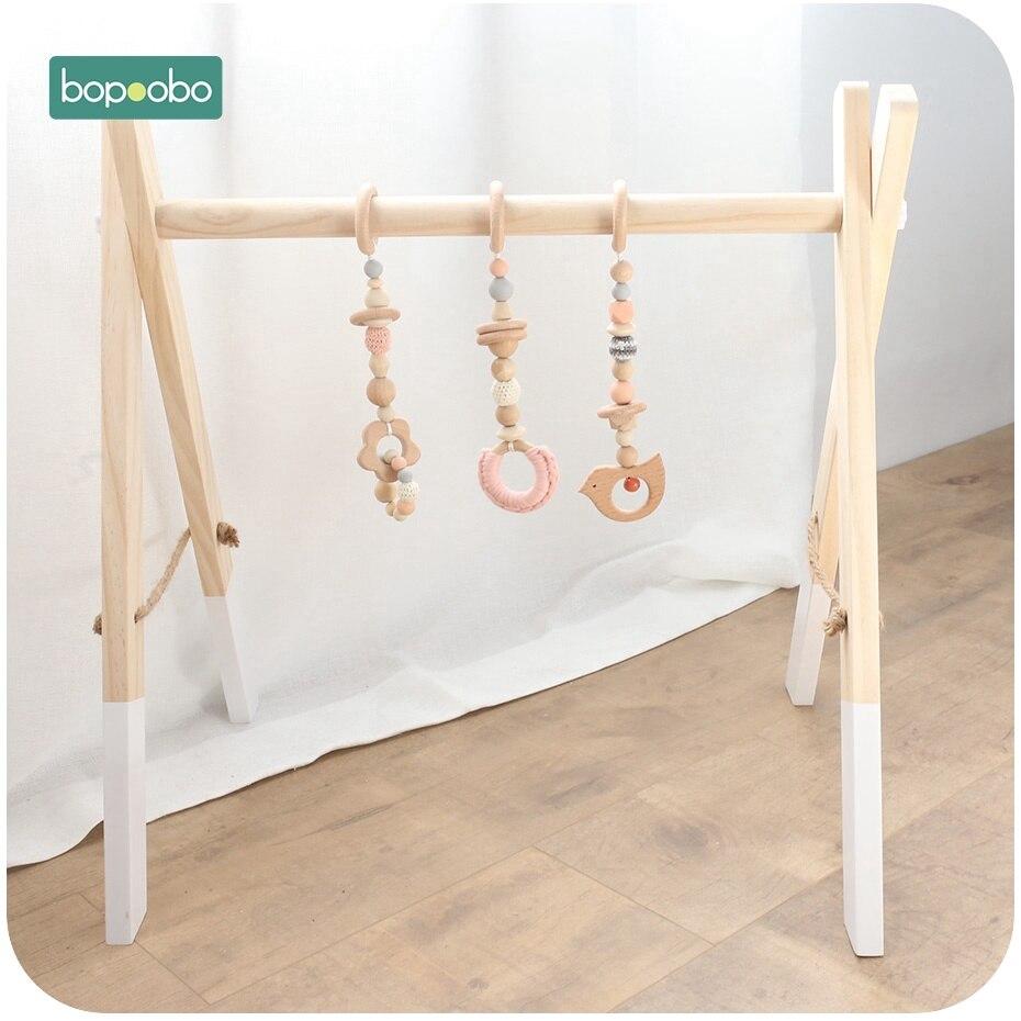 Bopoobo 1 ensemble bébé anneau de dentition bébé Gym accessoires jouer Gym hochet jouet ensemble bébé Gym décor Montessori sensoriel jouet bébé hochets