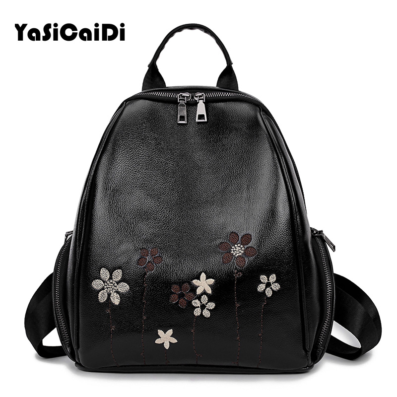 YASICAIDI 2017 Fashion Embroidery Flower Women Backpack High Quality PU Leather Double Zipper School Backpack for