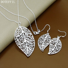 925 Sterling Silver Women'S Leaves Pendant Necklace Earrings Fashion Simple Classic Necklace Earrings For Women Ferr Shipping