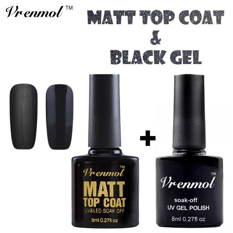 Matte Black Gel Nail Polish: Vrenmol 8ml Black Color Nail Polish+Matt Matte Top Coat UV
