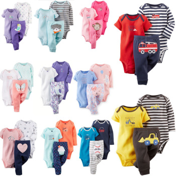 baby boy girl clothes set fashion 2019 newborn infant clothing cartoon animal print long sleeve romper+pant spring summer outfit