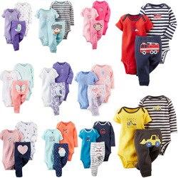 Bebê menino menina roupas definir moda 2019 recém-nascido roupas infantis dos desenhos animados animal impressão manga longa macacão + calça primavera verão outfit