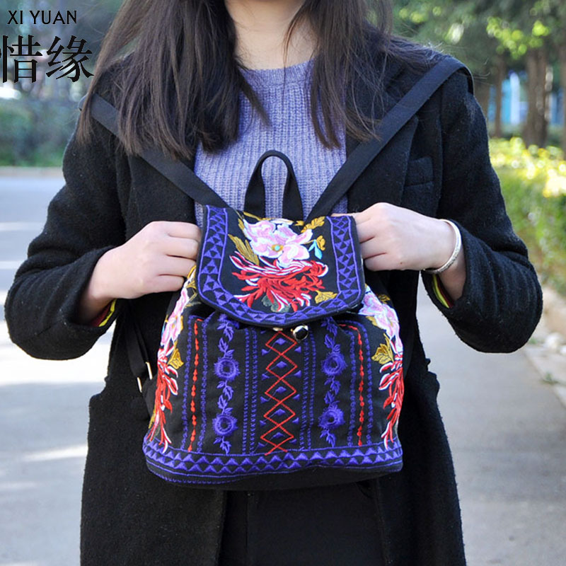 XIYUAN BRAND Exquisite and fashion canvas embroidery ethnic backpack,Hot sale Women Handmade Flower Embroidered Bag travel bags newest hmong embroidered women backpack black canvas ethnic casual travel backpack fashion vintage laptop bags