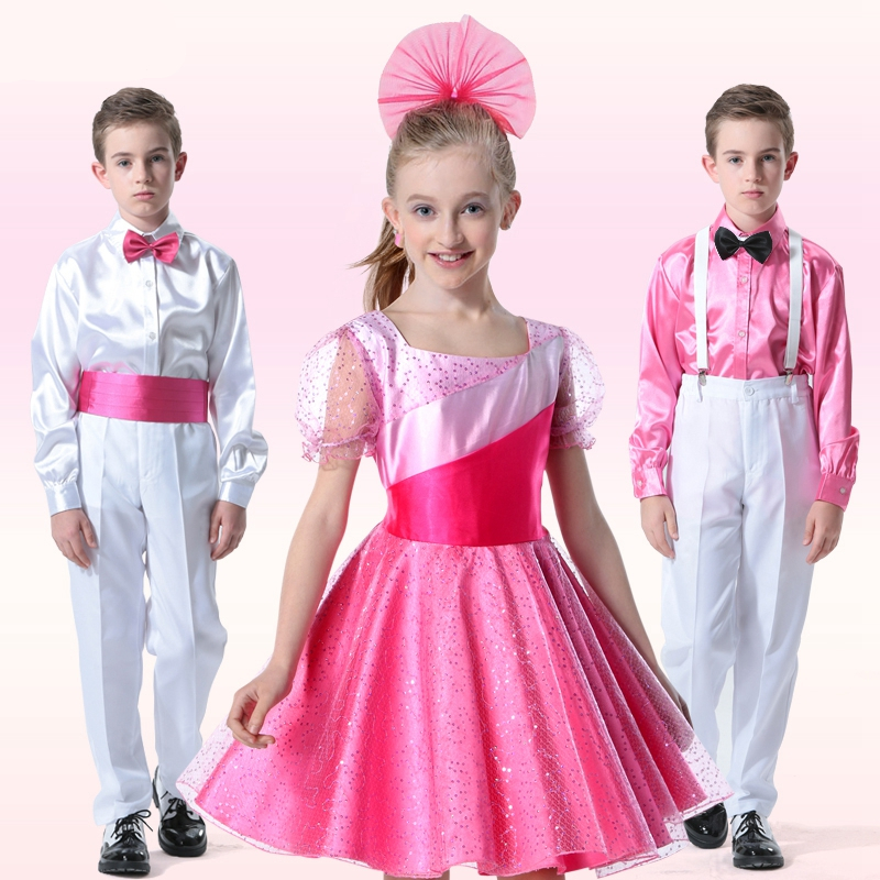 Bridal Design Girls Short Sleeve Dress Gorgeous Elegant Flower Children Pink/Blue  Latin Dance Costume Kids Performance Wear игрушки для ванной djeco игра рыбалка