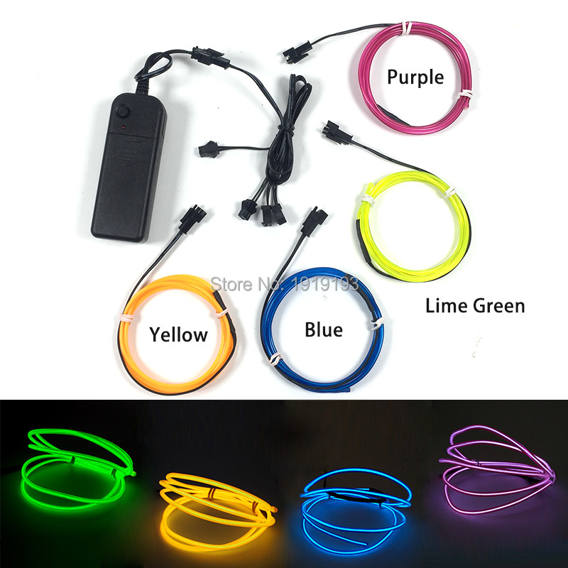 Custom Color 2.3mm 4Pcs x 1M Gorgeous EL Wire Rope Tube Neon Led Strip Cold Light Atmosphere Lamp Easter Halloween Wedding Decor