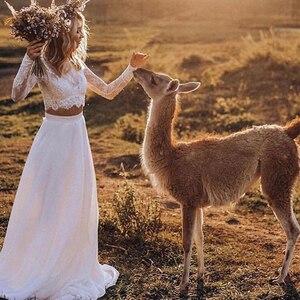 Image 2 - Vestidos de novia de encaje bohemio de dos piezas, vestidos de novia largos de manga larga, sexys vestidos de novia de campo con botones cubiertos