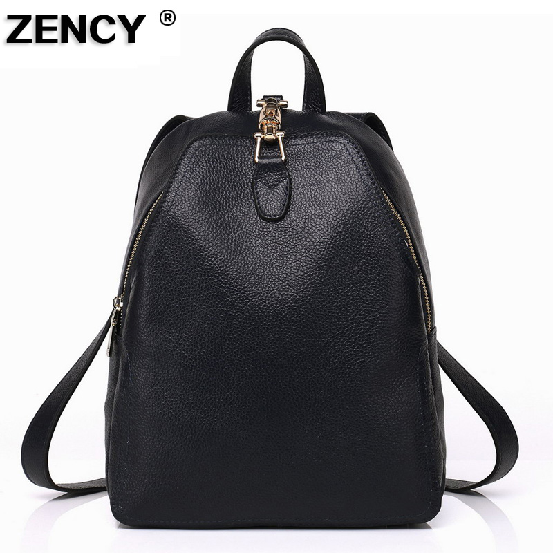 ZENCY 100% Genuine Leather Women Ladies Female Fashion Designer Backpacks School Bags Girls Casual Black/White/Purple/Dark Red zency genuine leather backpacks female girls women backpack top layer cowhide school bag gray black pink purple black color