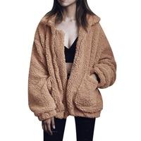 Plus Size S-3XL Mulheres Moda Fluffy Shaggy da Pele Do Falso Quente Casaco de Inverno Cardigan Jaquetas Bomber Jacket Lady Casacos Zipper Outwear