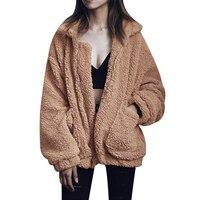 Plus Size S 3XL Women Fashion Fluffy Shaggy Faux Fur Warm Winter Coat Cardigan Bomber Jacket