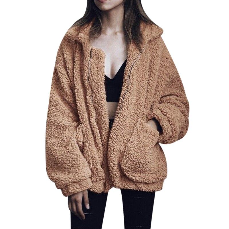 Talla grande S-3XL mujeres moda mullida Shaggy Faux Fur abrigo de invierno cálido chaqueta de bombardero chaqueta de mujer Abrigos con cremallera chaquetas de abrigo