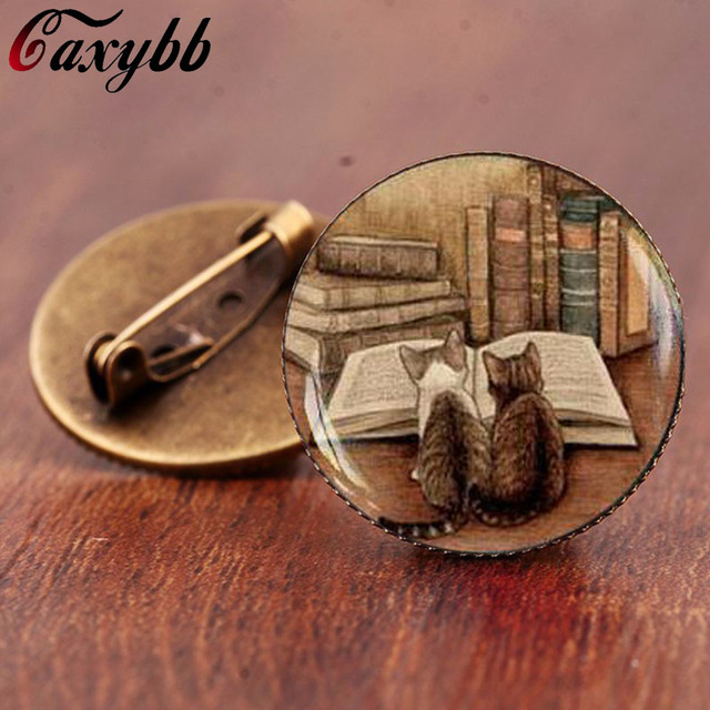 Caxybb brand Vintage books and cat brooch Book lover brooches Gift glass dome br